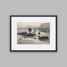 """Fishing on foot in Dieppe"" framed watercolor painting"
