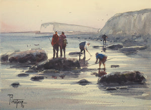 """Fishing on foot in Dieppe"" watercolor painting"