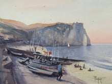 """Boats on the beach in Etretat"" original watercolor painting"