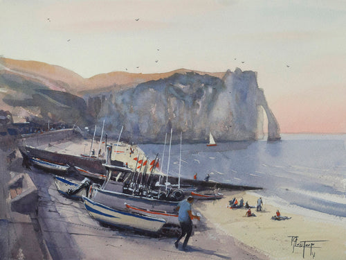 Boats on the beach in Etretat