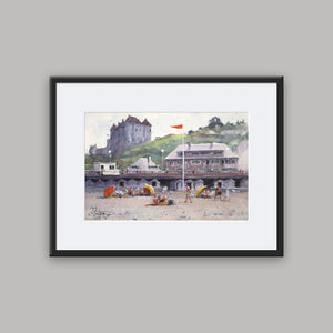 """Sunny Day At The Beach In Dieppe"" framed watercolor painting"