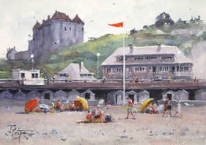 """Sunny Day At The Beach In Dieppe"" watercolor painting"