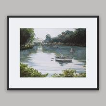 Boating on the lake framed watercolor painting