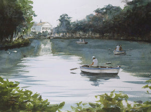 Boating on the lake watercolor painting