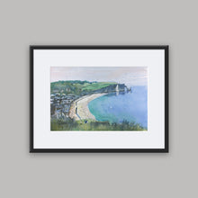"""Looking Down Over Etretat"" framed watercolor painting"