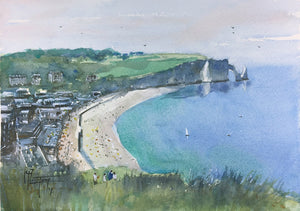 """Looking Down Over Etretat"" watercolor painting"