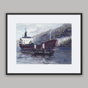 """Cargo boat on the Seine"" framed watercolor painting"