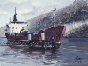 """Cargo boat on the Seine"" watercolor painting"
