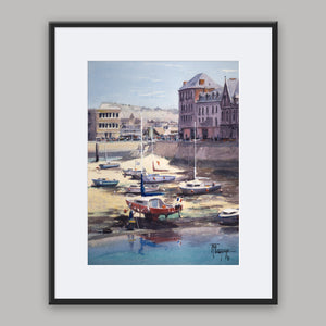 """Low Tide In Le Tréport"" framed watercolor painting"