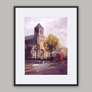 """Saint-Saëns Townscape"" framed watercolor painting"