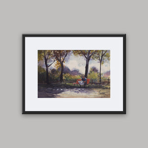 """Reading In The Park"" framed watercolor painting"