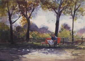 """Reading In The Park"" watercolor painting"