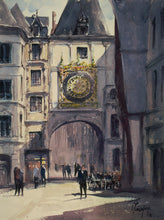 """Le Gros Horloge"" watercolor painting"