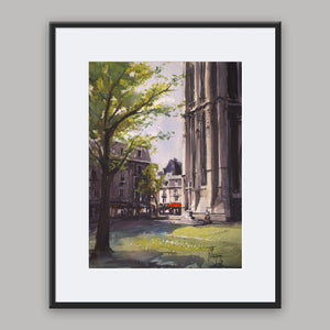 """Saint-Jacques church"" framed watercolor painting"