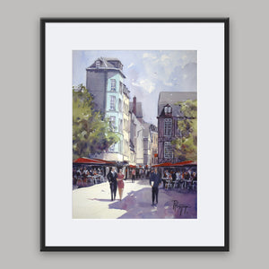 """Streetscene in Rouen"" framed watercolor painting"