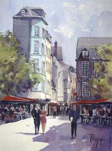 """Streetscene in Rouen"" watercolor painting"