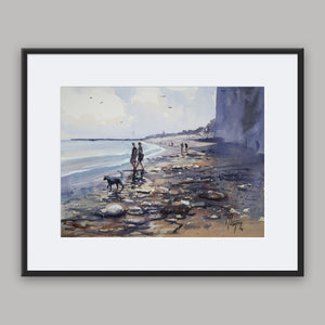 """Down by the cliffs"" framed watercolor painting"