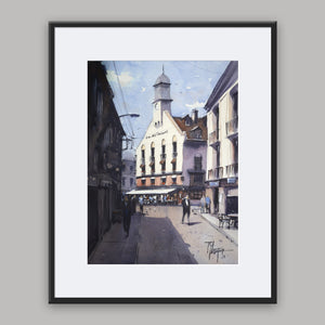 """Café des Tribuneaux Dieppe"" framed watercolor painitng"