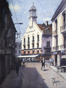 """Café des Tribuneaux Dieppe"" watercolor painitng"