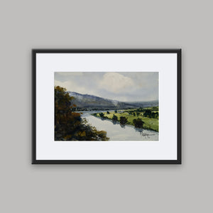 """View Of The Orne Valley"" framed watercolor painting"