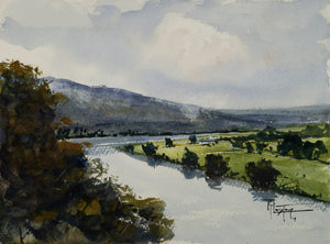 """View Of The Orne Valley"" watercolor painting"