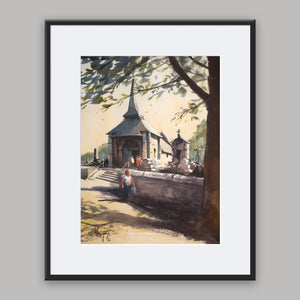 """Grigneuseville"" framed watercolor painting"