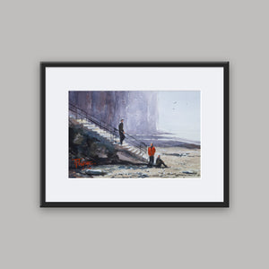 """Rendez-Vous At The Beach"" framed watercolor painting"