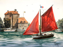 """Le Vieux Bassin at Honfleur"" watercolor painting"