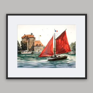 """Le Vieux Bassin at Honfleur"" framed watercolor painting"