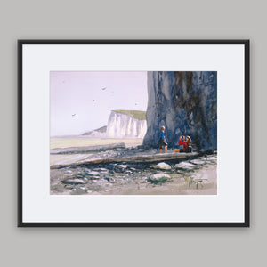 """Enjoying the view down by the cliffs"" framed watercolor painting"