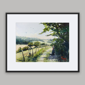 """Rural Scene In Normandy"" framed watercolor painting"