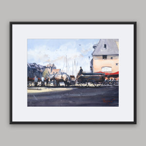"""Horses and carriage in Honfleur"" framed watercolor painting"