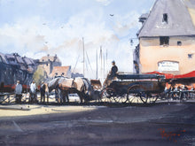"""Horses and carriage in Honfleur"" watercolor painting"