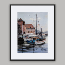 """Le Vieux Bassin"" framed watercolor painting"