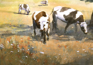 """Cows in the shadow of a tree"" watercolor painting detail"