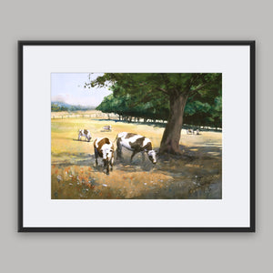 """Cows in the shadow of a tree"" framed watercolor painting"