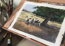 """Cows in the shadow of a tree"" watercolor painting in progress"