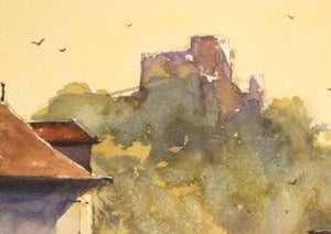 """Le Café du Petit Andelys"" detail of a watercolor painting"