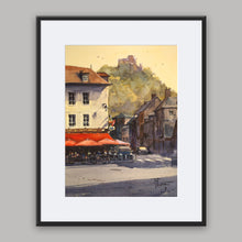 """Le Café du Petit Andelys"" framed watercolor painting"