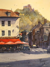 """Le Café du Petit Andelys"" watercolor painting"