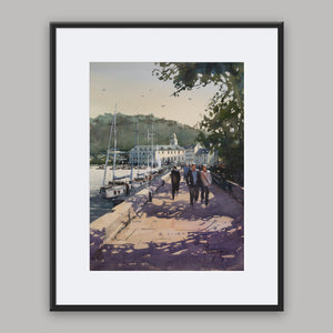 """Walking Along The Pier"" framed watercolor painting"