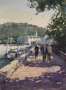 """Walking Along The Pier"" watercolor painting"