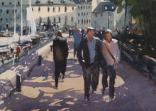 """Walking Along The Pier"" detail of a watercolor painting"