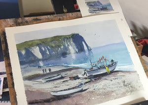"""Fishermen at work"" watercolor painting in the studio"