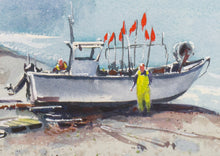 """Fishermen at work"" detail of a watercolor painting"