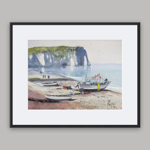 """Fishermen at work"" framed watercolor painting"