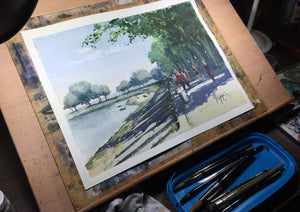 """Strolling Along The Bay"" watercolor painting in the studio"