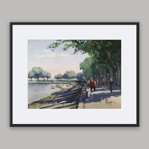 """Strolling Along The Bay"" framed watercolor painting"