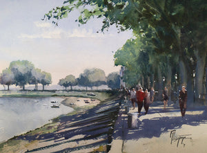 """Strolling Along The Bay"" watercolor painting"