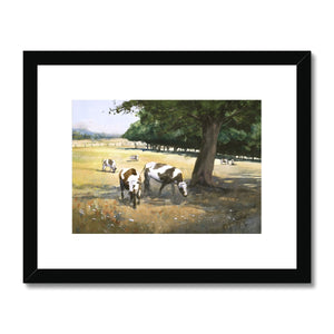 Cows In The Shadow Of A Tree Framed & Mounted Print